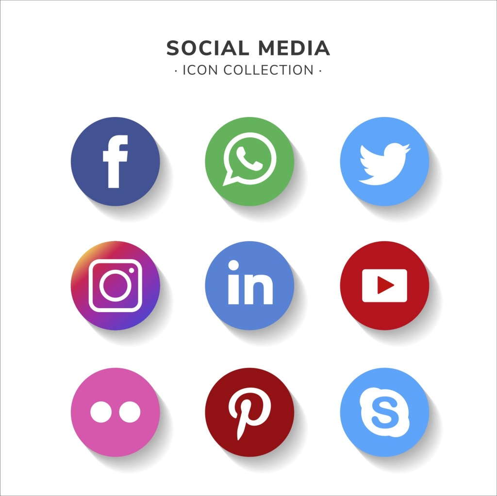 Facebook, WhatsApp, Twitter, Instagram, LinkedIn, YouTube, Pinterest, and Skype icons for Social Media Icon Collection representation